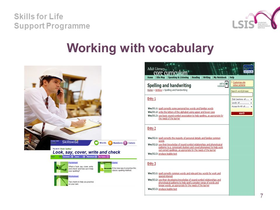 Skills for Life Support Programme Working with vocabulary 7