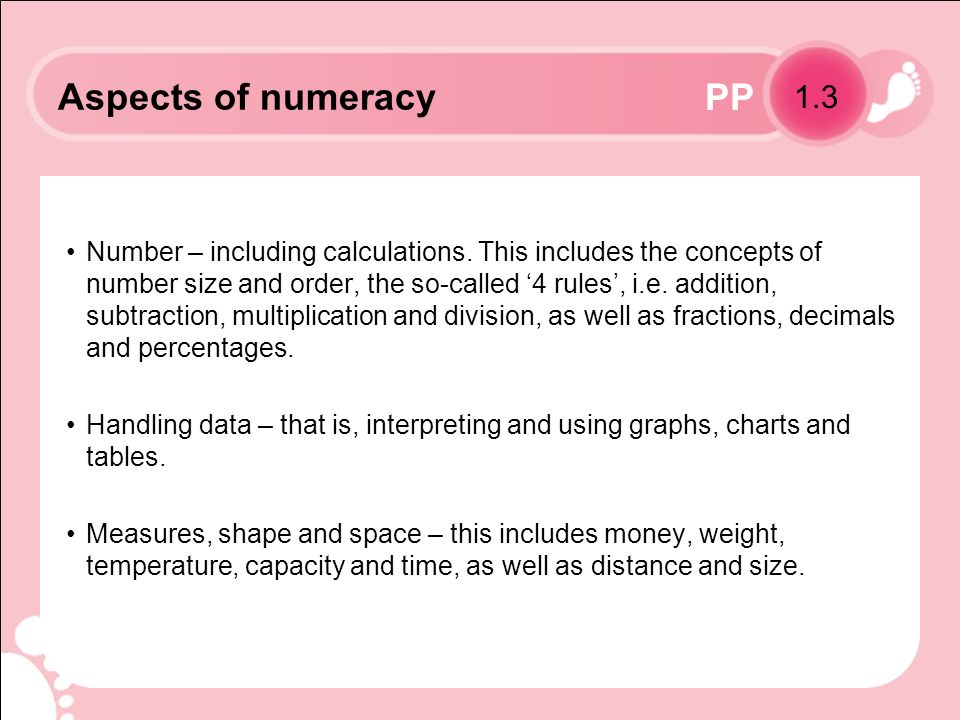 PP Aspects of numeracy Number – including calculations.