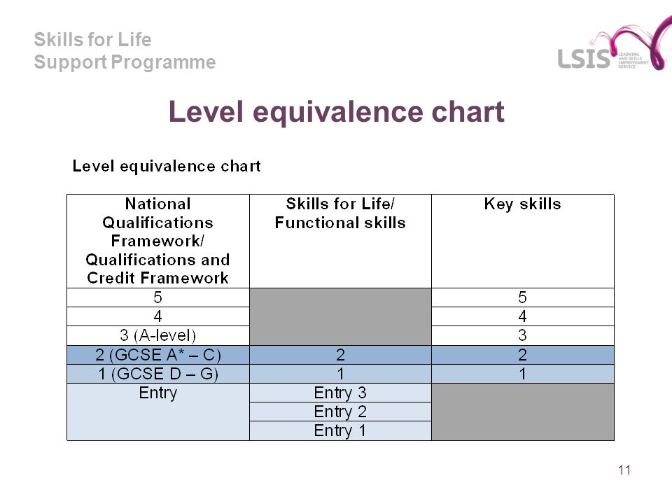 Skills for Life Support Programme 11 Level equivalence chart