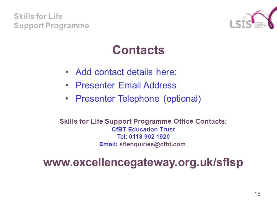 Skills for Life Support Programme Contacts Add contact details here: Presenter  Address Presenter Telephone (optional) Skills for Life Support Programme Office Contacts: CfBT Education Trust Tel: