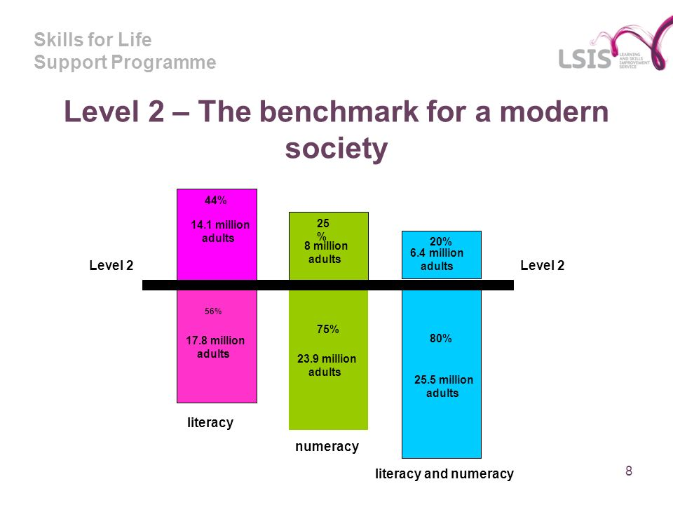 Skills for Life Support Programme 8 Level 2 – The benchmark for a modern society 44% 14.1 million adults 56% 17.8 million adults 25 % 8 million adults 75% 23.9 million adults 20% 6.4 million adults 80% 25.5 million adults literacy numeracy literacy and numeracy Level 2