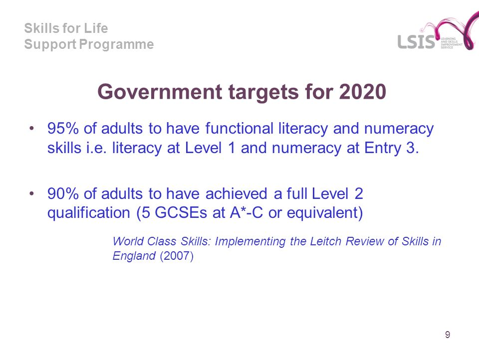Skills for Life Support Programme Government targets for % of adults to have functional literacy and numeracy skills i.e.