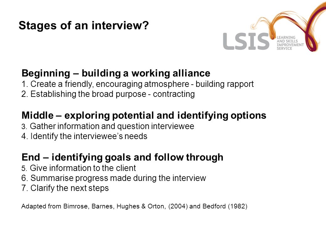 Stages of an interview. Beginning – building a working alliance 1.