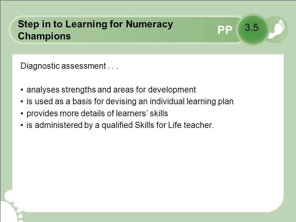 PP Step in to Learning for Numeracy Champions Diagnostic assessment...