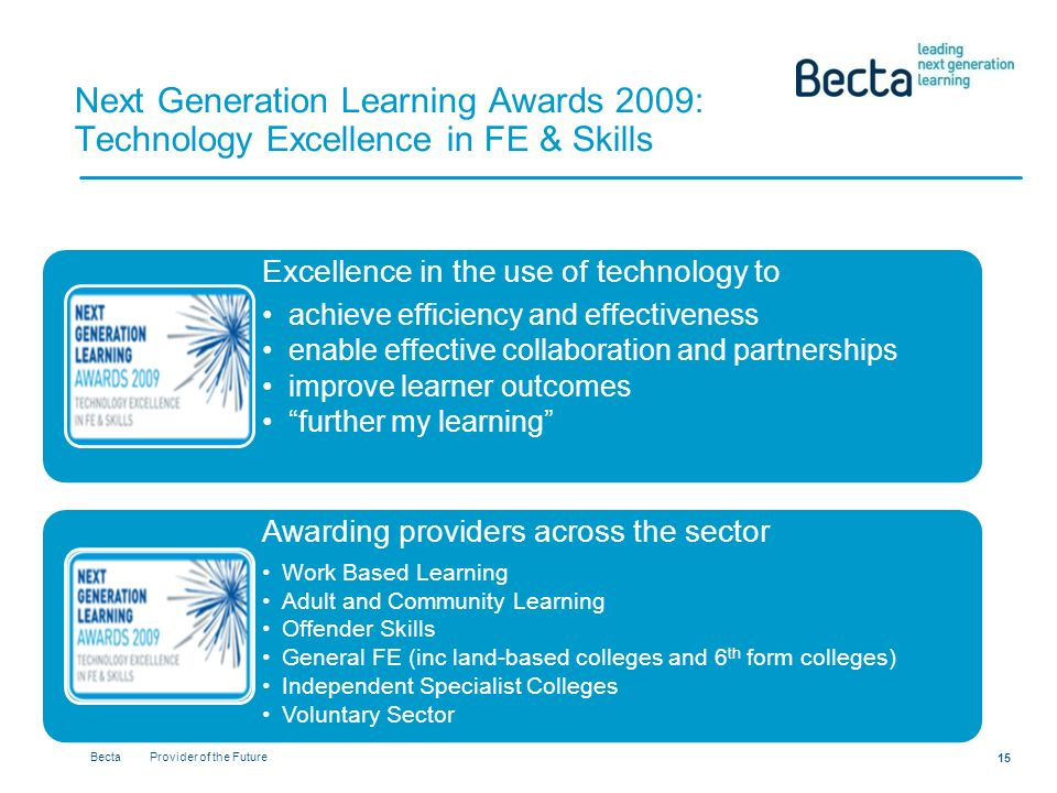 Becta Provider of the Future 15 Next Generation Learning Awards 2009: Technology Excellence in FE & Skills Excellence in the use of technology to achieve efficiency and effectiveness enable effective collaboration and partnerships improve learner outcomes further my learning Awarding providers across the sector Work Based Learning Adult and Community Learning Offender Skills General FE (inc land-based colleges and 6 th form colleges) Independent Specialist Colleges Voluntary Sector