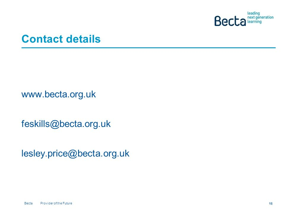 Becta Provider of the Future Contact details