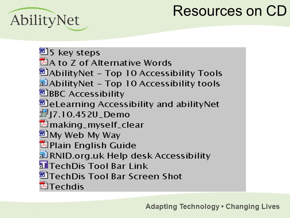 Adapting Technology Changing Lives Resources on CD