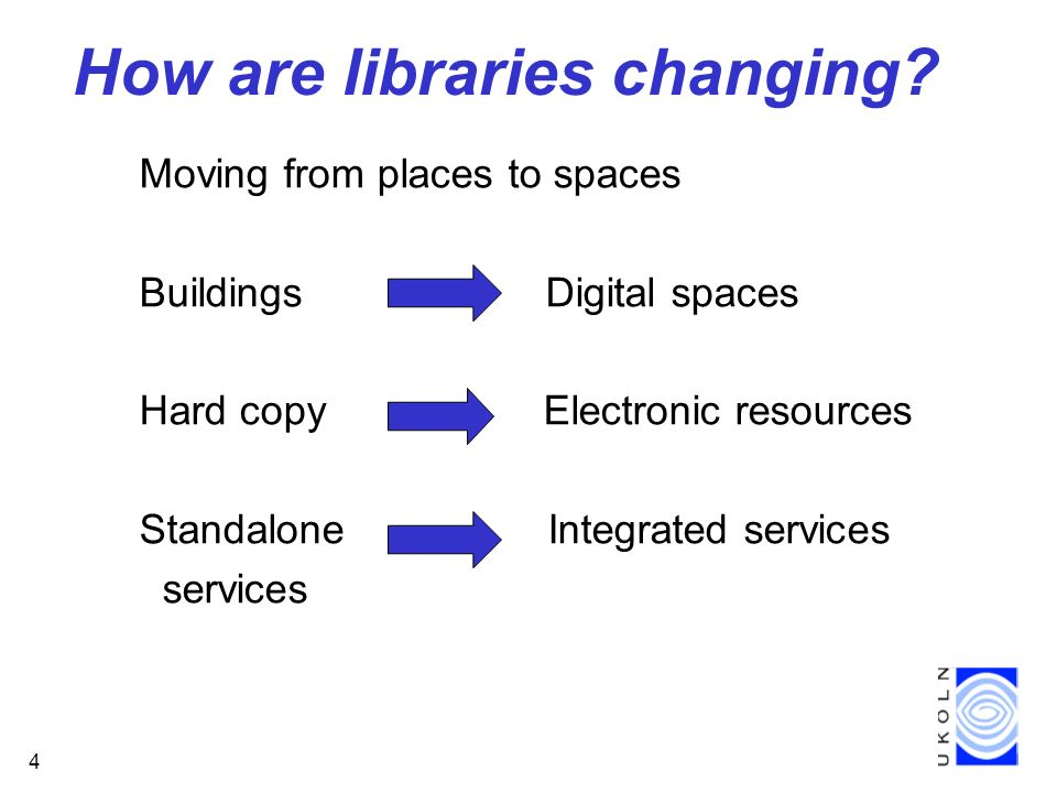 4 How are libraries changing.