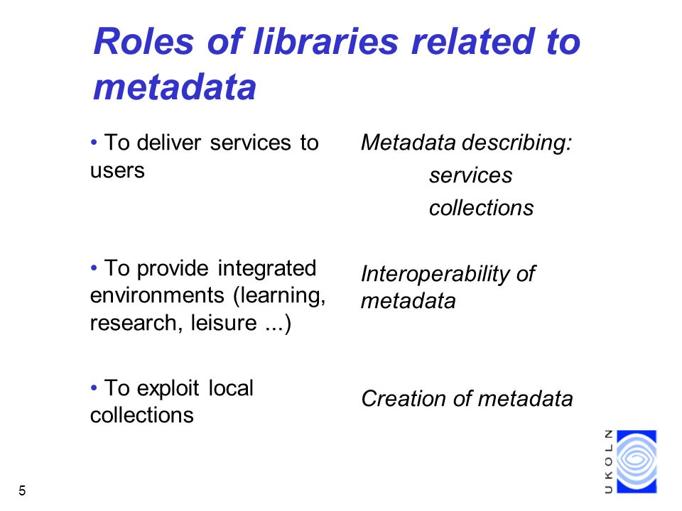 5 Roles of libraries related to metadata To deliver services to users To provide integrated environments (learning, research, leisure...) To exploit local collections Metadata describing: services collections Interoperability of metadata Creation of metadata