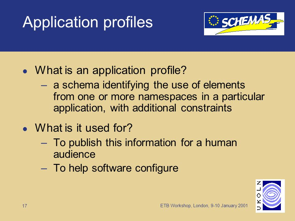 ETB Workshop, London, 9-10 January Application profiles What is an application profile.