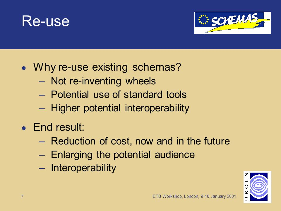 ETB Workshop, London, 9-10 January Re-use Why re-use existing schemas.