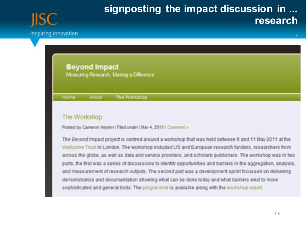 signposting the impact discussion in... research. 13