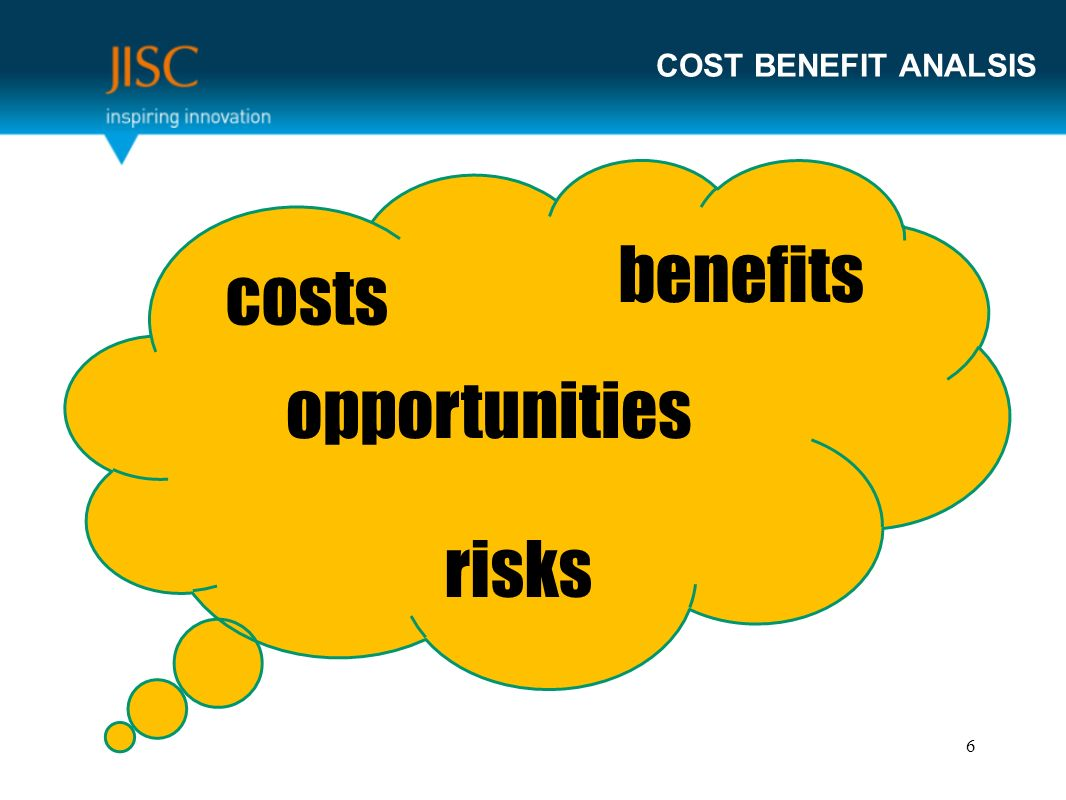COST BENEFIT ANALSIS costs benefits opportunities risks 6