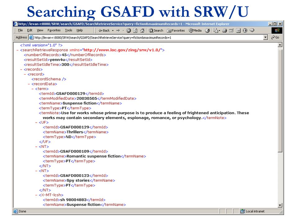 Searching GSAFD with SRW/U