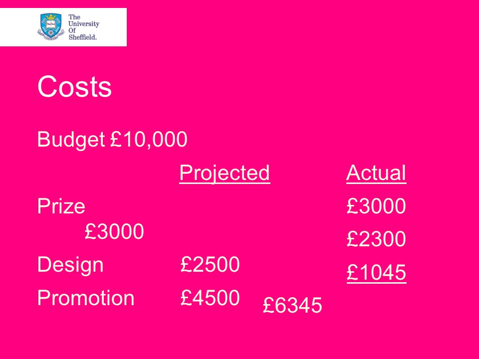 Costs Budget £10,000 Projected Prize £3000 Design£2500 Promotion£4500 Actual £3000 £2300 £1045 £6345
