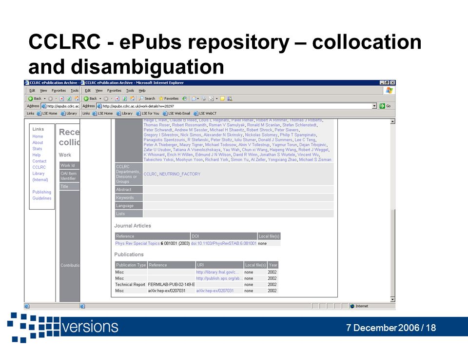 7 December 2006 / 18 CCLRC - ePubs repository – collocation and disambiguation