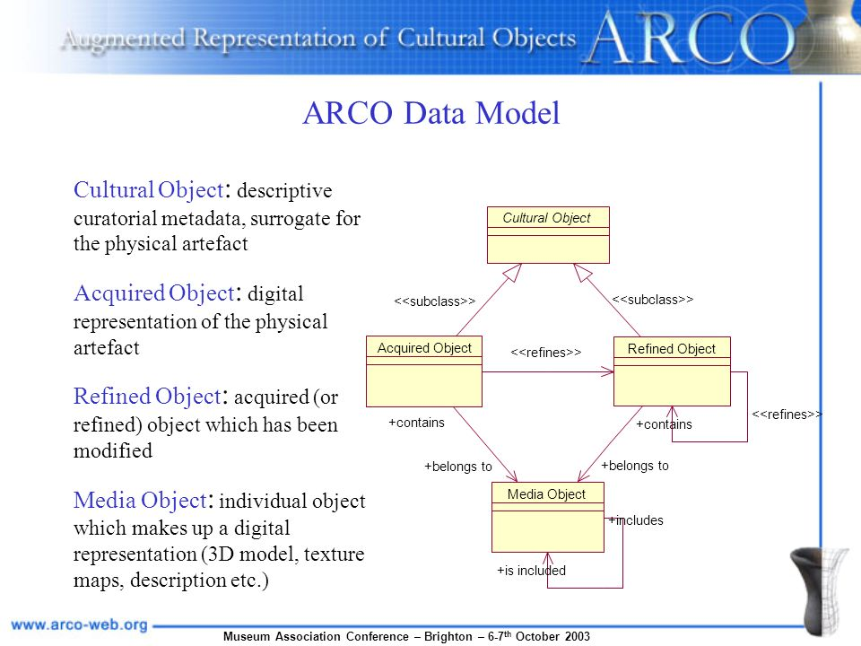 Museum Association Conference – Brighton – 6-7 th October 2003 ARCO Data Model Media Object +is included +includes Cultural Object Acquired Object > +belongs to +contains Refined Object > +belongs to +contains > Cultural Object : descriptive curatorial metadata, surrogate for the physical artefact Acquired Object : digital representation of the physical artefact Refined Object : acquired (or refined) object which has been modified Media Object : individual object which makes up a digital representation (3D model, texture maps, description etc.)