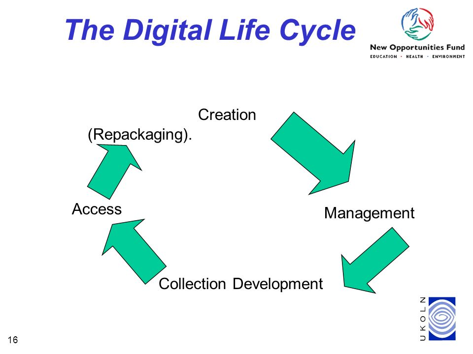 16 The Digital Life Cycle Creation Management Collection Development Access (Repackaging).