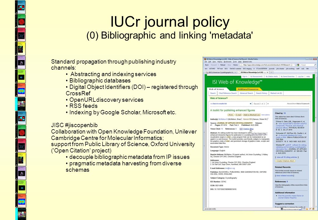 IUCr journal policy (0) Bibliographic and linking metadata Standard propagation through publishing industry channels: Abstracting and indexing services Bibliographic databases Digital Object Identifiers (DOI) – registered through CrossRef OpenURL discovery services RSS feeds Indexing by Google Scholar, Microsoft etc.