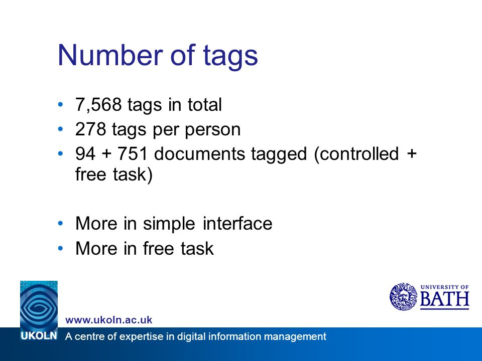 A centre of expertise in digital information management www.ukoln.ac.uk Number of tags 7,568 tags in total 278 tags per person 94 + 751 documents tagged (controlled + free task) More in simple interface More in free task