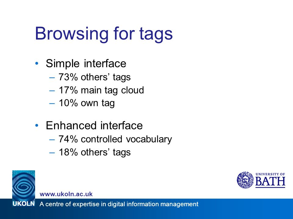 A centre of expertise in digital information management www.ukoln.ac.uk Browsing for tags Simple interface –73% others tags –17% main tag cloud –10% own tag Enhanced interface –74% controlled vocabulary –18% others tags