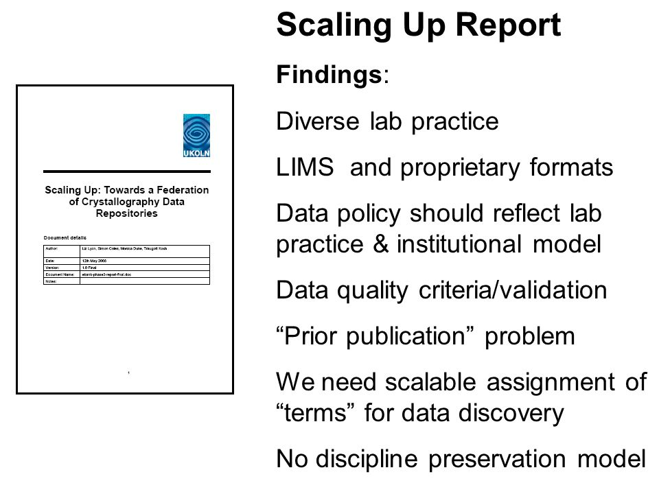 Findings: Diverse lab practice LIMS and proprietary formats Data policy should reflect lab practice & institutional model Data quality criteria/validation Prior publication problem We need scalable assignment of terms for data discovery No discipline preservation model