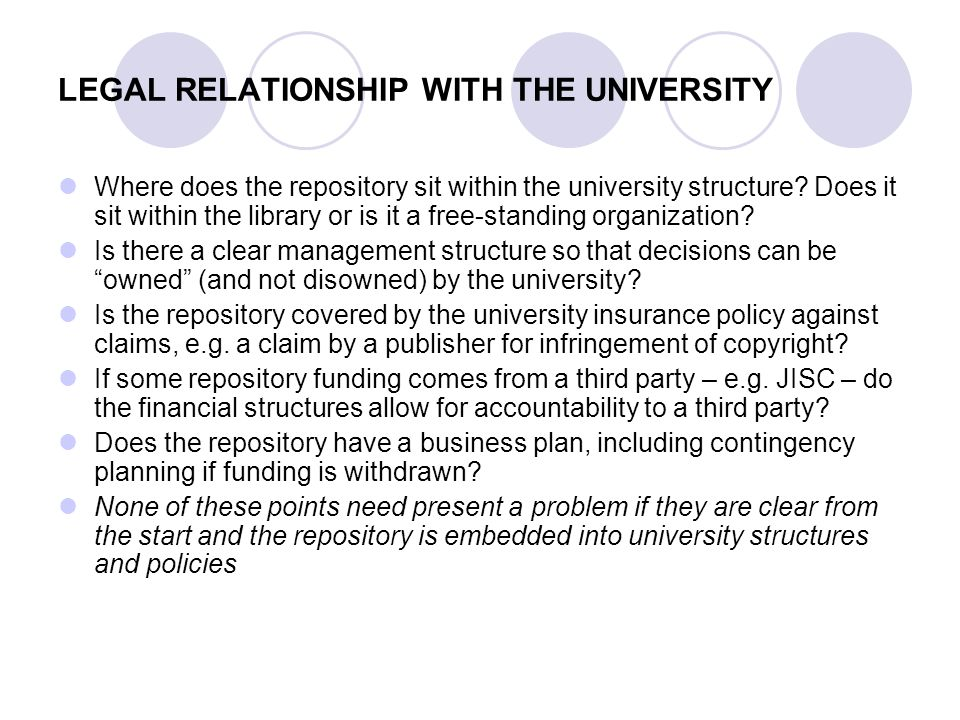 LEGAL RELATIONSHIP WITH THE UNIVERSITY Where does the repository sit within the university structure.