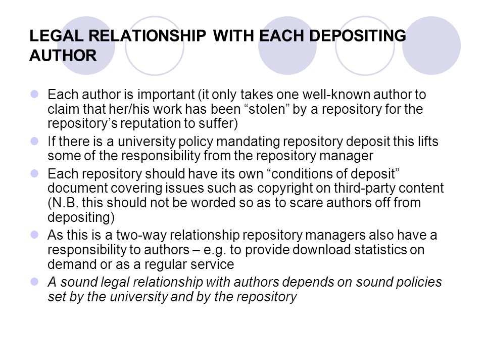 LEGAL RELATIONSHIP WITH EACH DEPOSITING AUTHOR Each author is important (it only takes one well-known author to claim that her/his work has been stolen by a repository for the repositorys reputation to suffer) If there is a university policy mandating repository deposit this lifts some of the responsibility from the repository manager Each repository should have its own conditions of deposit document covering issues such as copyright on third-party content (N.B.