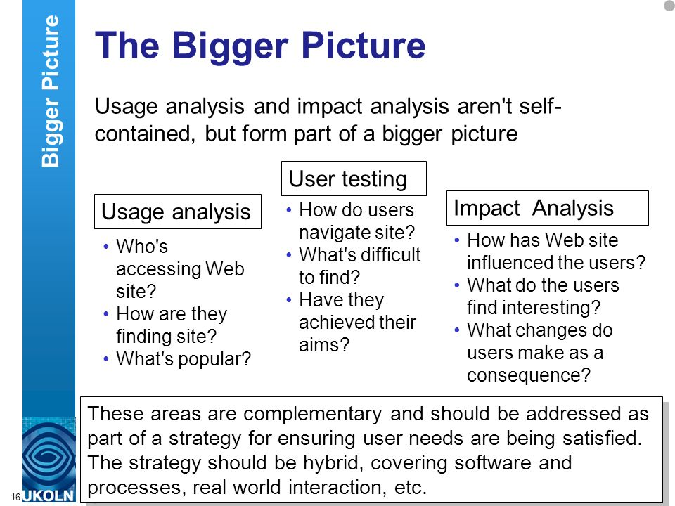 A centre of expertise in digital information managementwww.ukoln.ac.uk 16 The Bigger Picture Usage analysis and impact analysis aren t self- contained, but form part of a bigger picture Usage analysis Who s accessing Web site.