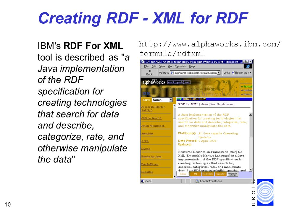 10 Creating RDF - XML for RDF IBM s RDF For XML tool is described as a Java implementation of the RDF specification for creating technologies that search for data and describe, categorize, rate, and otherwise manipulate the data   formula/rdfxml