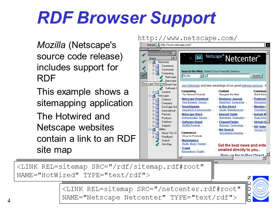 4 RDF Browser Support Mozilla (Netscape s source code release) includes support for RDF This example shows a sitemapping application The Hotwired and Netscape websites contain a link to an RDF site map