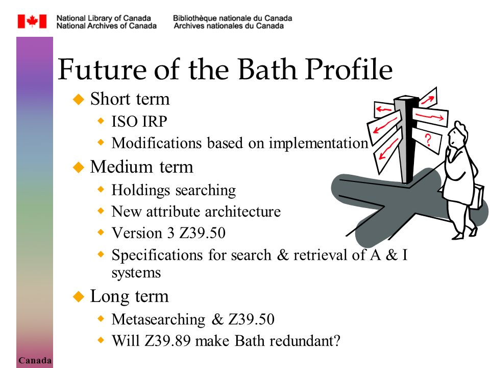 Canada Future of the Bath Profile Short term ISO IRP Modifications based on implementation Medium term Holdings searching New attribute architecture Version 3 Z39.50 Specifications for search & retrieval of A & I systems Long term Metasearching & Z39.50 Will Z39.89 make Bath redundant