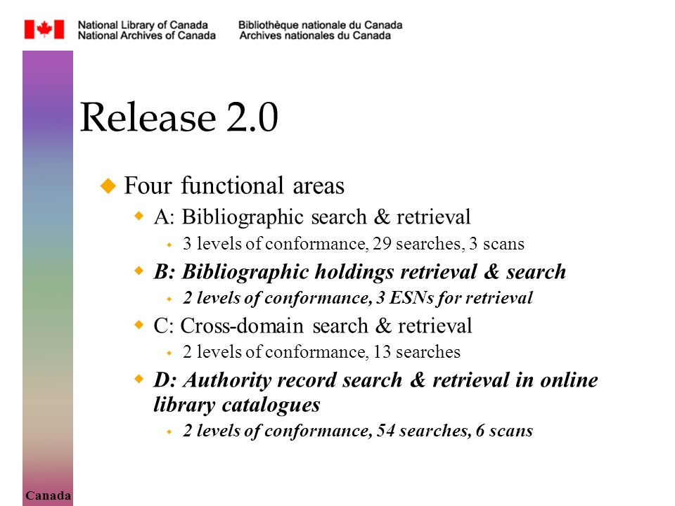 Canada Release 2.0 Four functional areas A: Bibliographic search & retrieval 3 levels of conformance, 29 searches, 3 scans B: Bibliographic holdings retrieval & search 2 levels of conformance, 3 ESNs for retrieval C: Cross-domain search & retrieval 2 levels of conformance, 13 searches D: Authority record search & retrieval in online library catalogues 2 levels of conformance, 54 searches, 6 scans
