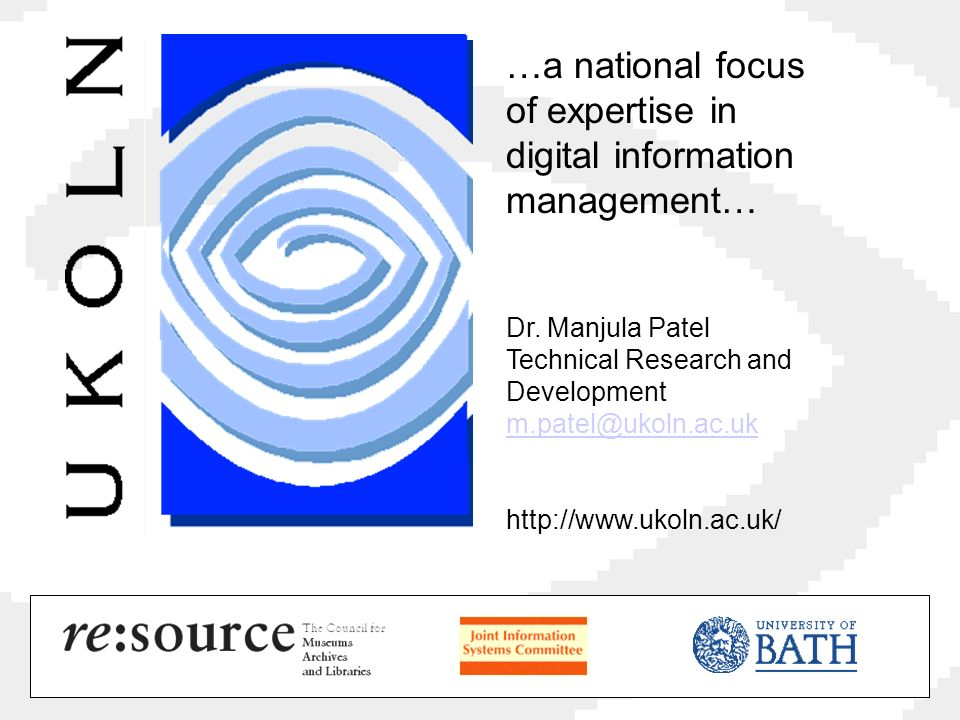 …a national focus of expertise in digital information management… Dr.
