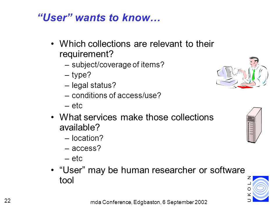 mda Conference, Edgbaston, 6 September 2002 22 User wants to know… Which collections are relevant to their requirement.