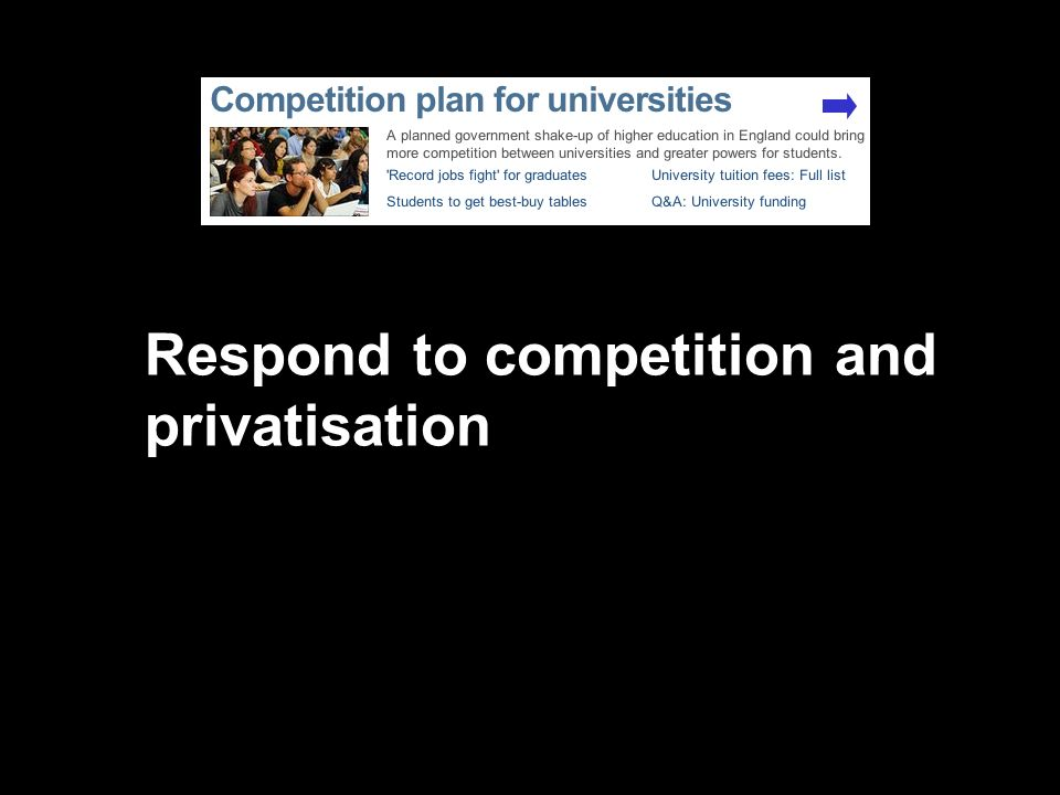 Respond to competition and privatisation
