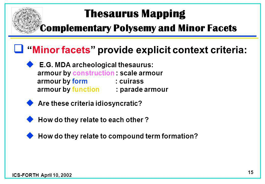 ICS-FORTH April 10, 2002 15 Thesaurus Mapping Complementary Polysemy and Minor Facets Minor facets provide explicit context criteria: u E.G.