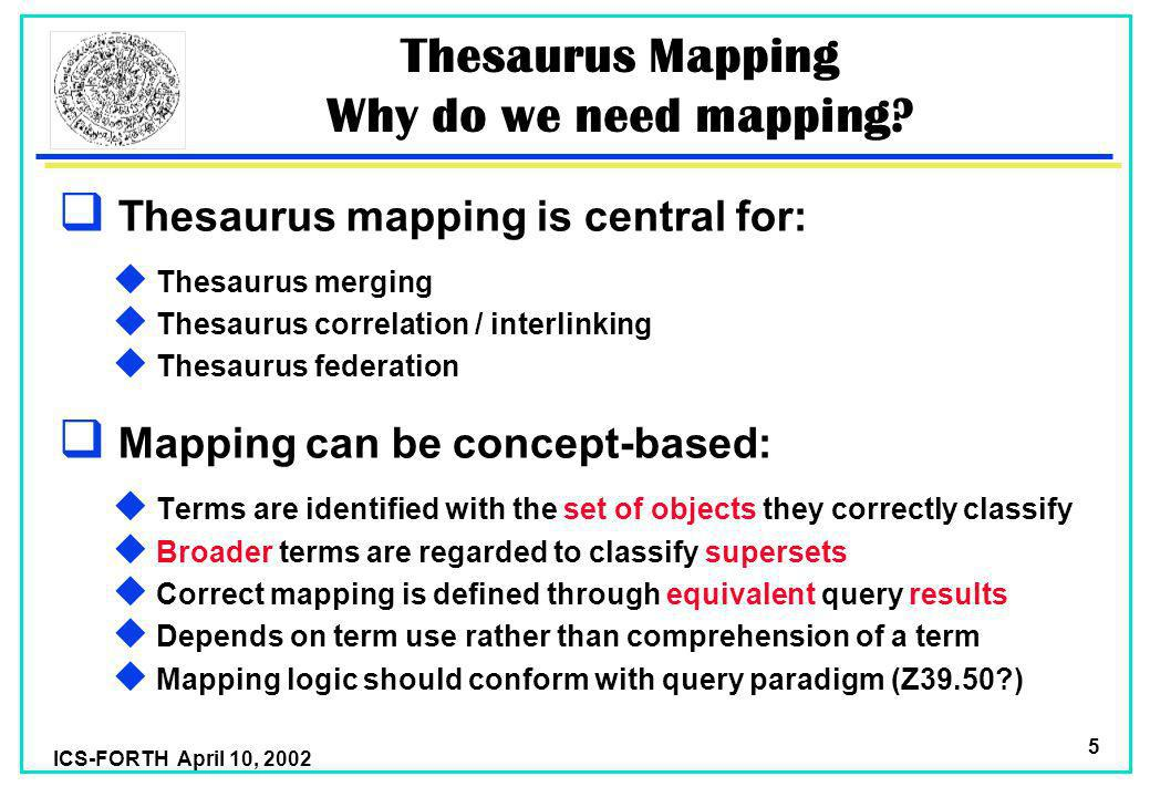 ICS-FORTH April 10, 2002 5 Thesaurus Mapping Why do we need mapping.
