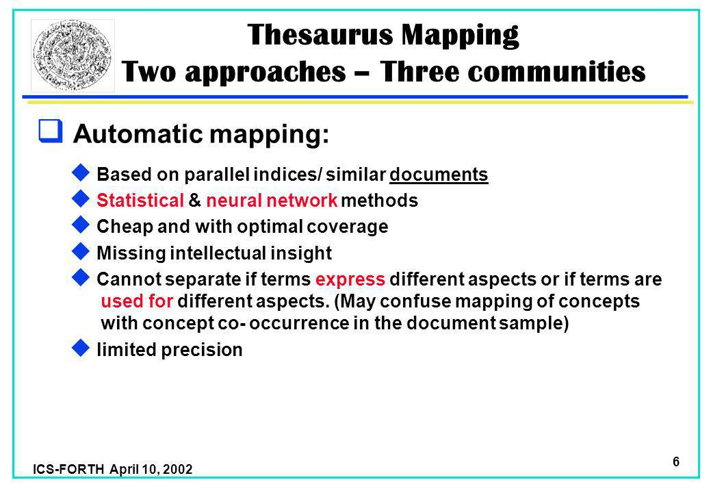 ICS-FORTH April 10, 2002 6 Thesaurus Mapping Two approaches – Three communities Automatic mapping: u Based on parallel indices/ similar documents u Statistical & neural network methods u Cheap and with optimal coverage u Missing intellectual insight u Cannot separate if terms express different aspects or if terms are used for different aspects.