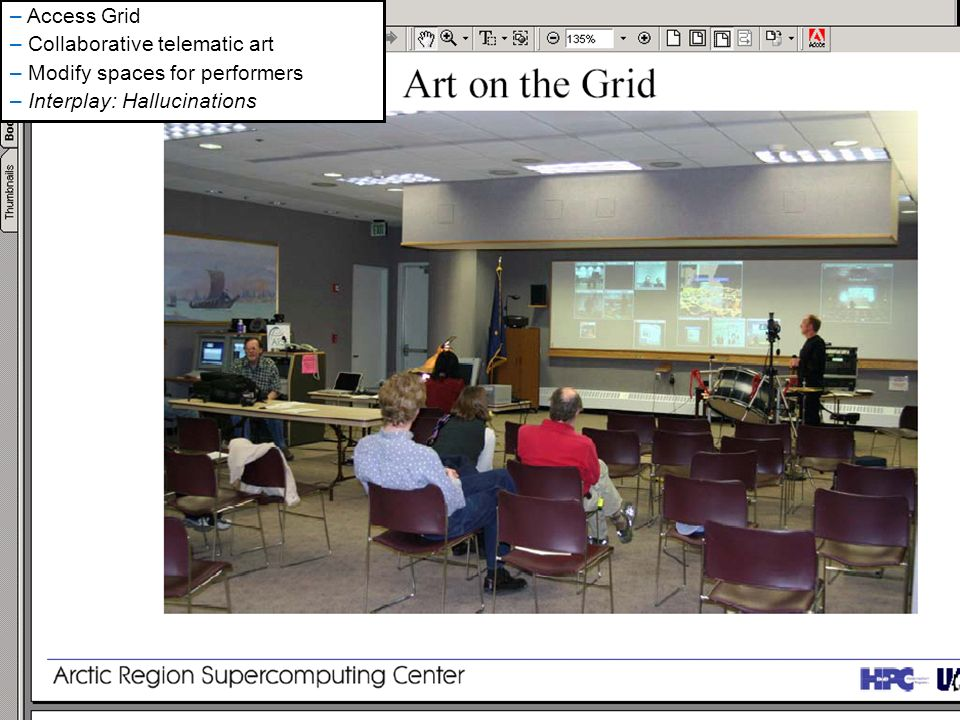 SWMLAC ICT Masterclass January 20058 – Access Grid – Collaborative telematic art – Modify spaces for performers – Interplay: Hallucinations