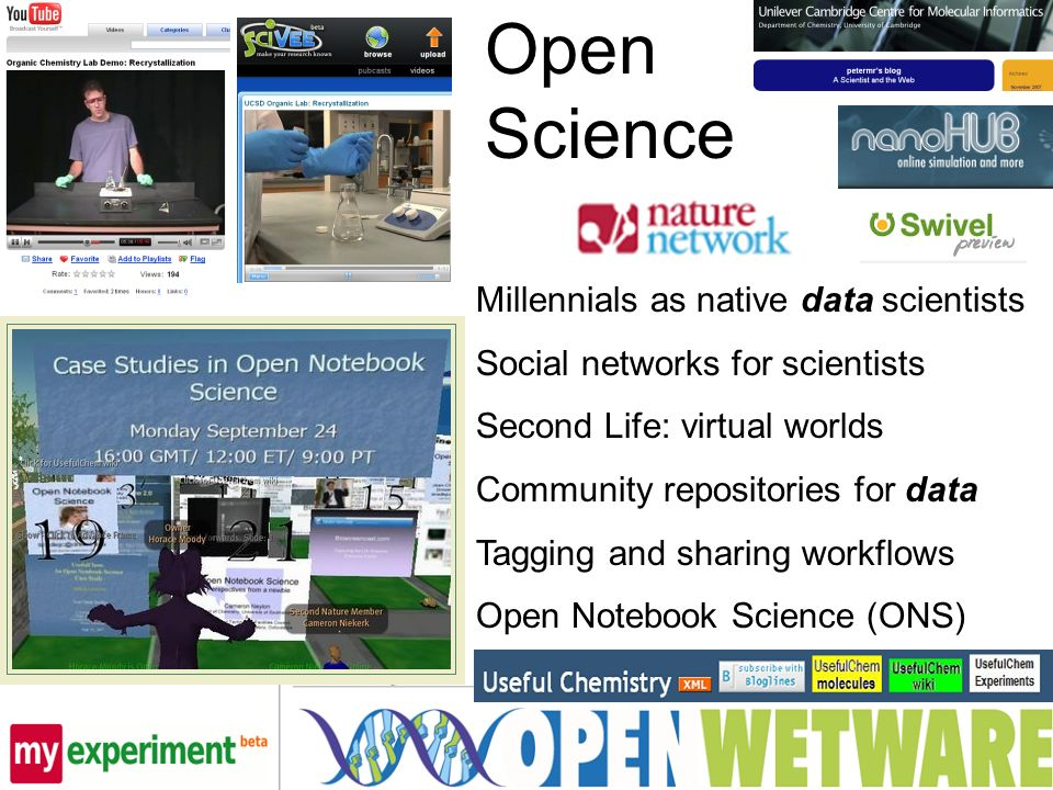 Open Science Millennials as native data scientists Social networks for scientists Second Life: virtual worlds Community repositories for data Tagging and sharing workflows Open Notebook Science (ONS)