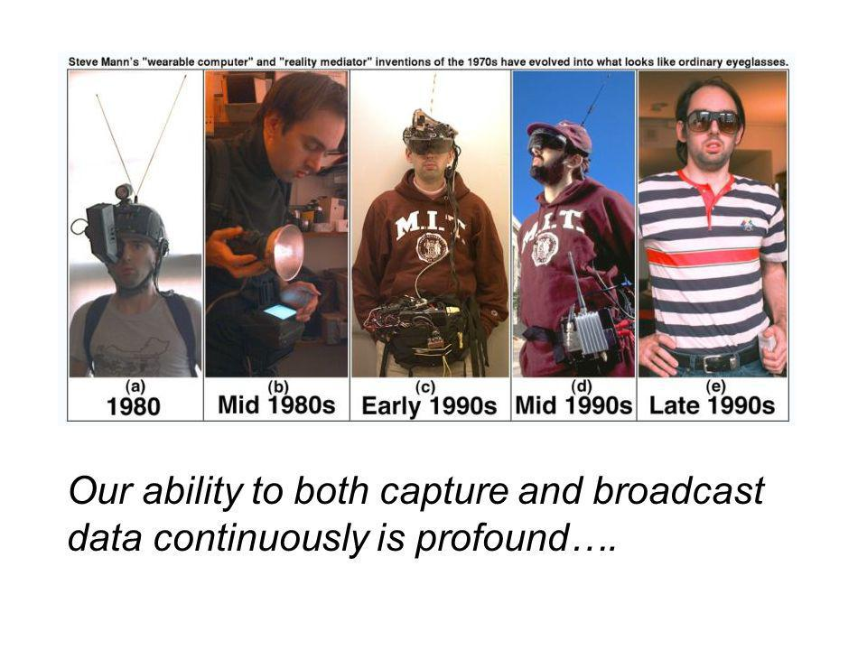 Our ability to both capture and broadcast data continuously is profound….