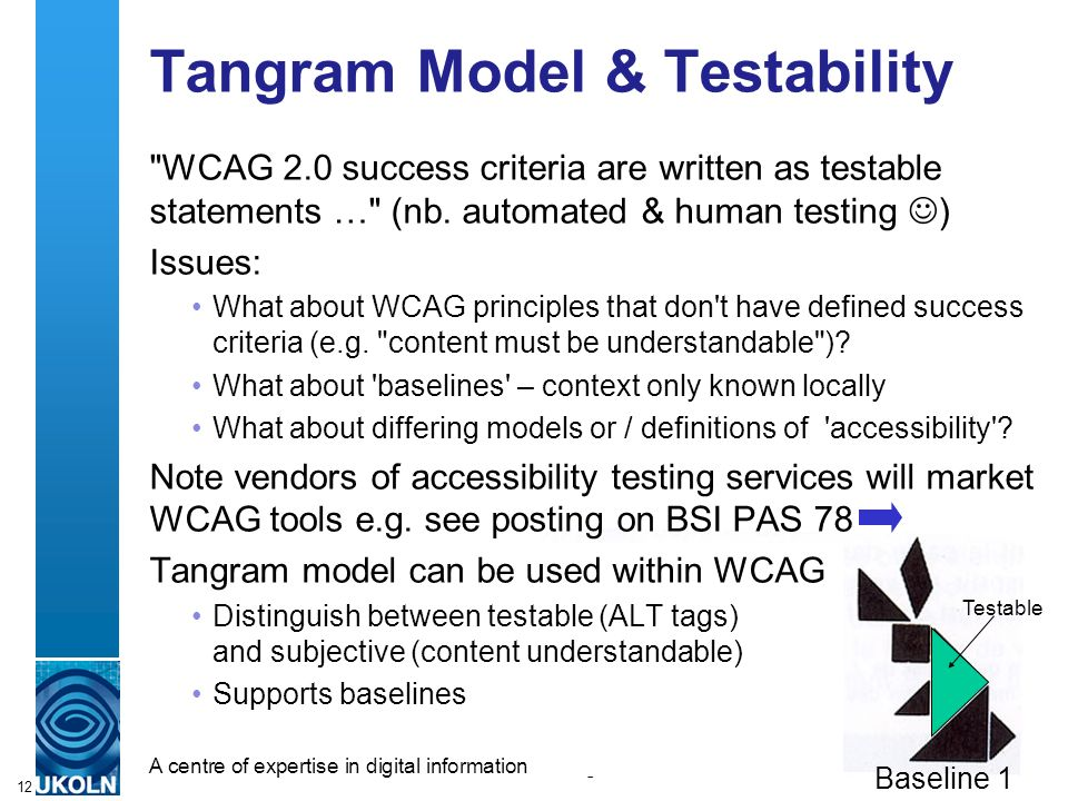 A centre of expertise in digital information managementwww.ukoln.ac.uk 12 Tangram Model & Testability WCAG 2.0 success criteria are written as testable statements … (nb.