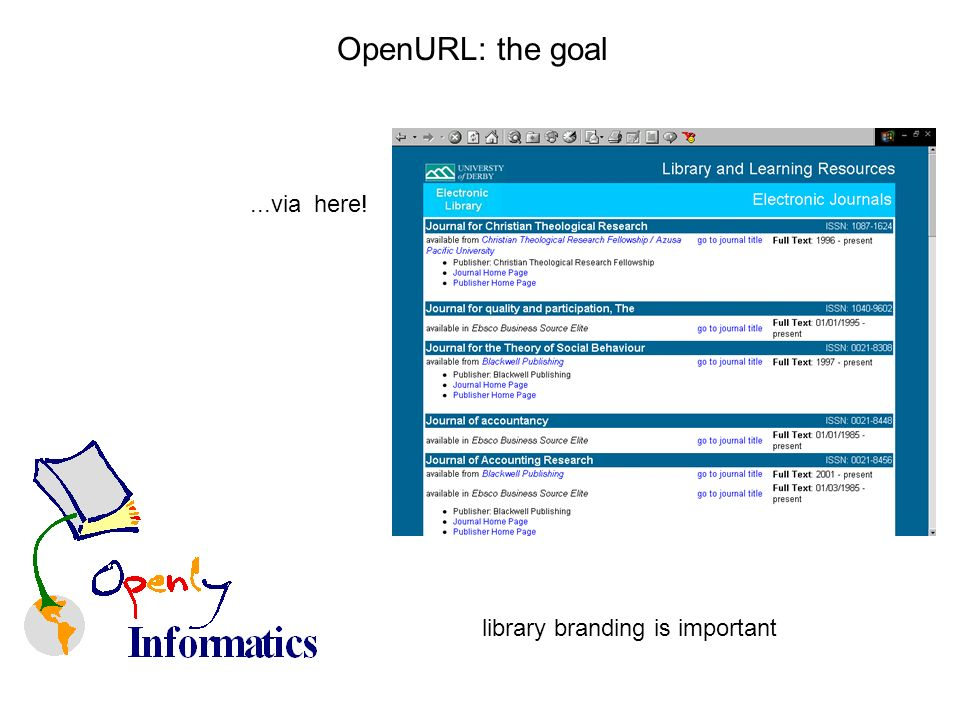 OpenURL: the goal...via here! library branding is important