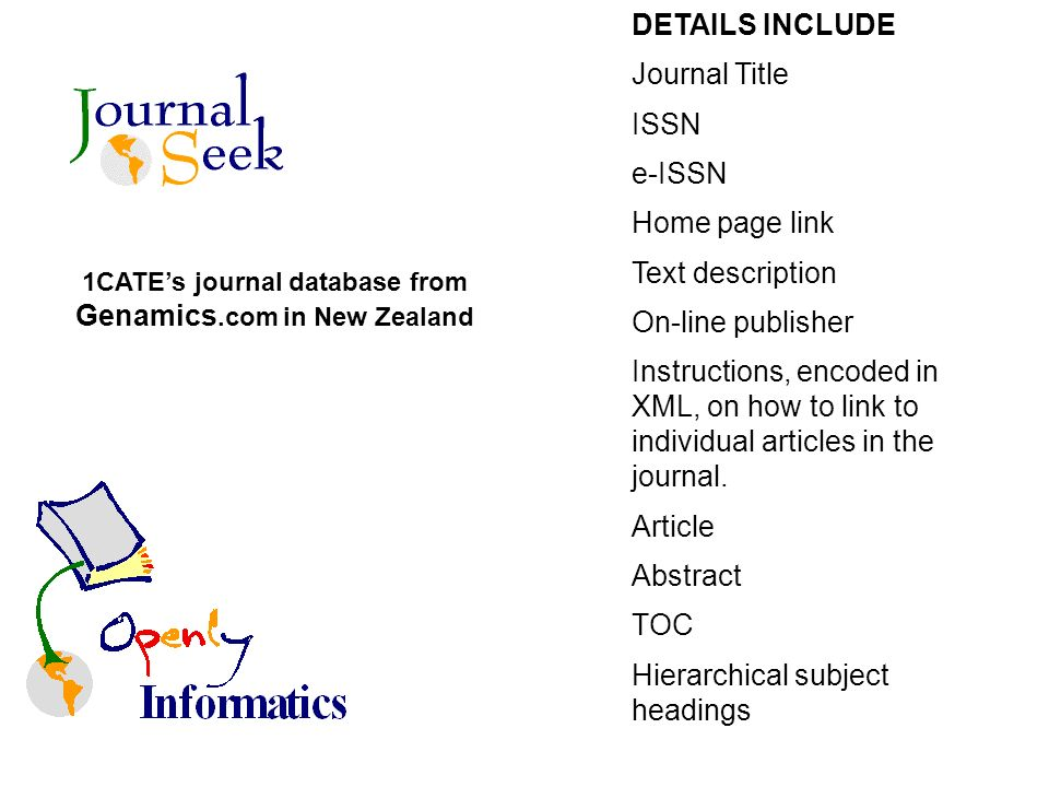 1CATEs journal database from Genamics.com in New Zealand DETAILS INCLUDE Journal Title ISSN e-ISSN Home page link Text description On-line publisher Instructions, encoded in XML, on how to link to individual articles in the journal.