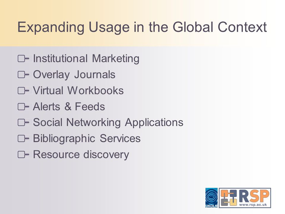 Expanding Usage in the Global Context Institutional Marketing Overlay Journals Virtual Workbooks Alerts & Feeds Social Networking Applications Bibliographic Services Resource discovery