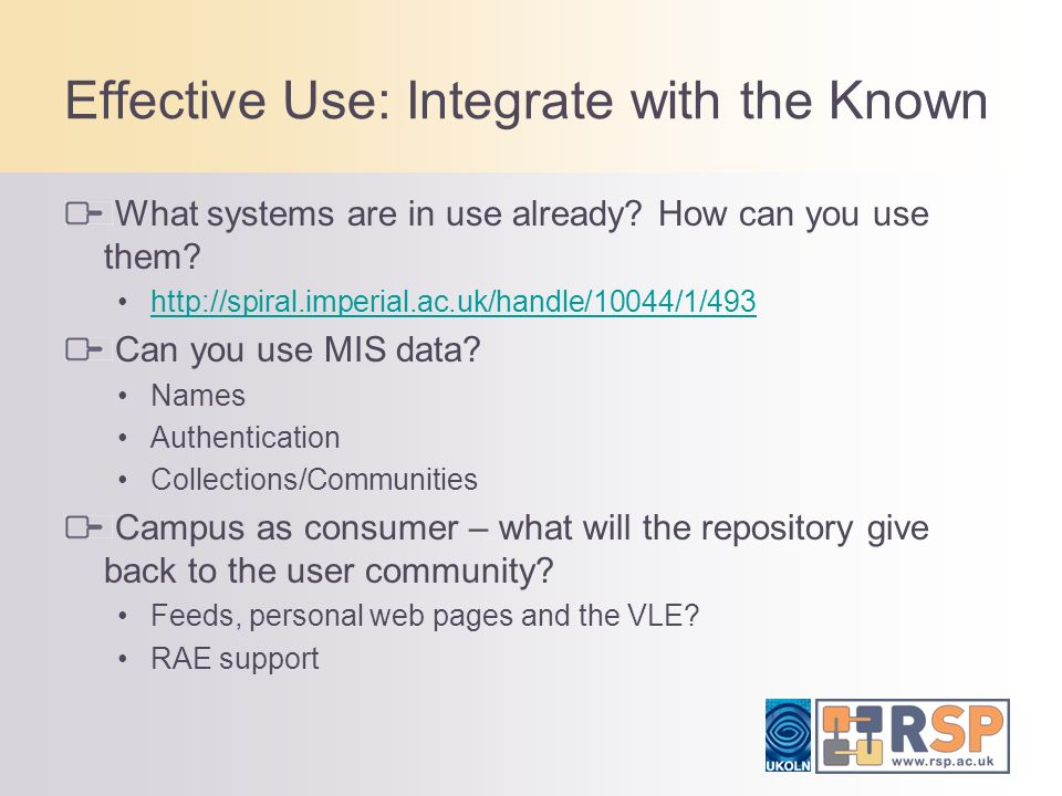 Effective Use: Integrate with the Known What systems are in use already.