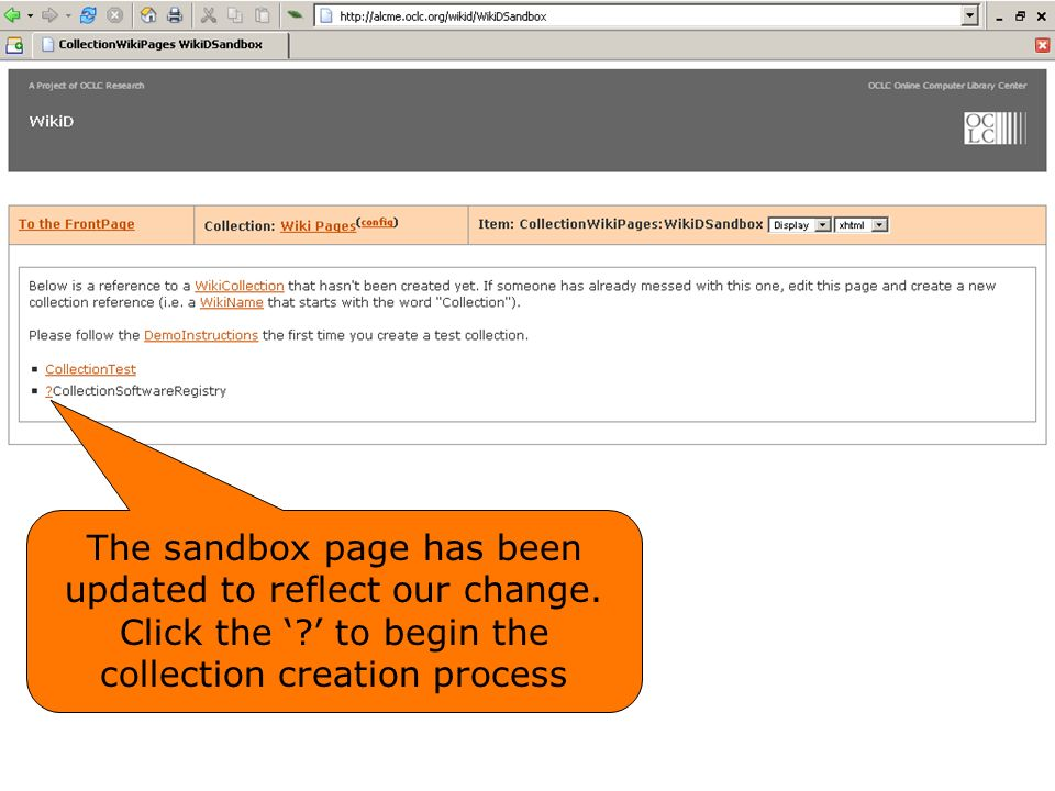 The sandbox page has been updated to reflect our change.