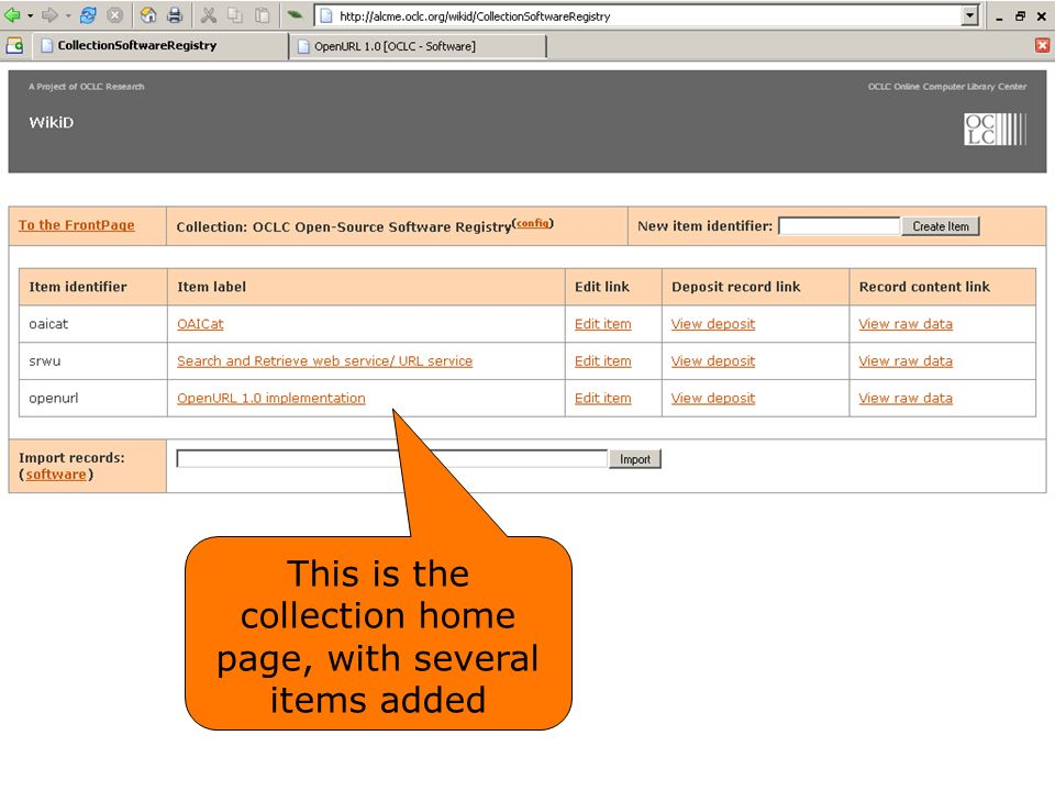 This is the collection home page, with several items added