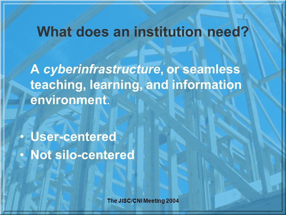 The JISC/CNI Meeting 2004 What does an institution need.